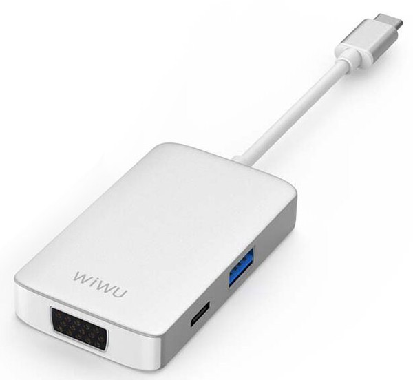 Адаптер WIWU Alpha 513HVP 5in1 USB-C to USB3.0+USB-C+VGA+HDMI+3.5mm Silver (008304)