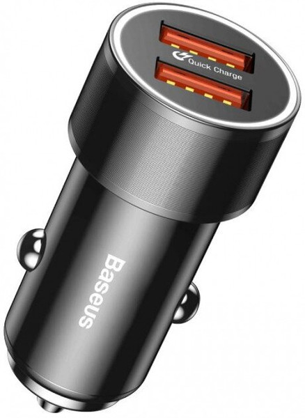 АЗП Baseus Small Screw Dual USB Quick Car Charger 36W Black (003631)